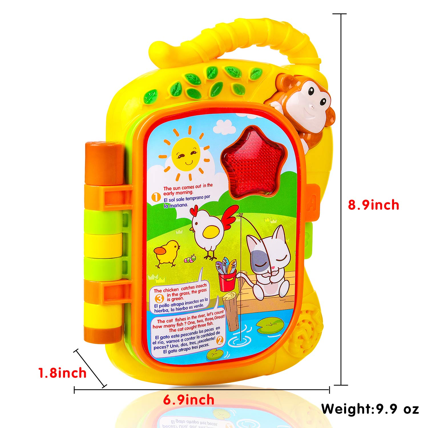 Laugh And Learn Storybook Early Learning Educational eBook with English and Spanish Suitable for Baby Kids Toddler M ZIMOON Learn Story Toys
