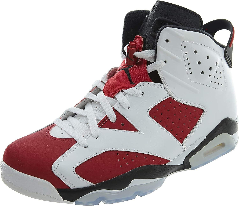 Nike Herren Air Jordan 6 Retro Turnschuhe Weiß Rot Schwarz Weiß Carmine Schwarz
