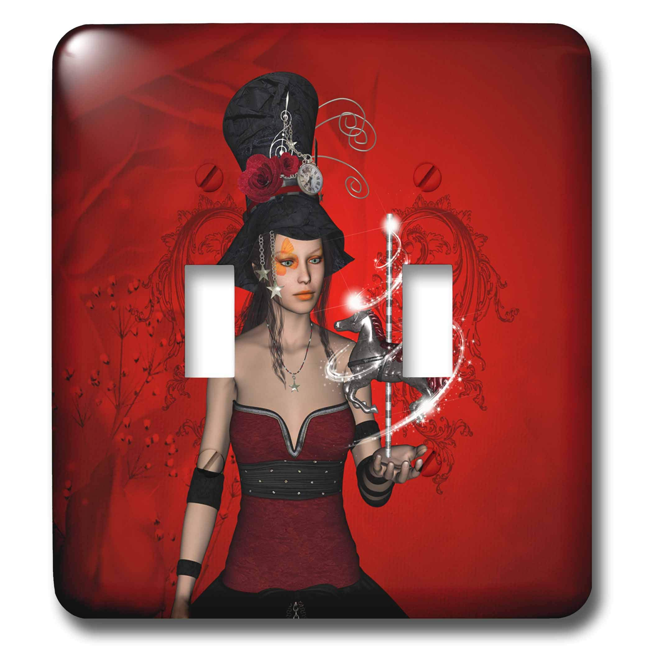 3dRose Heike Köhnen Desing Fantasy - Fantasy women with horse - Light Switch Covers - double toggle switch (lsp_289151_2)