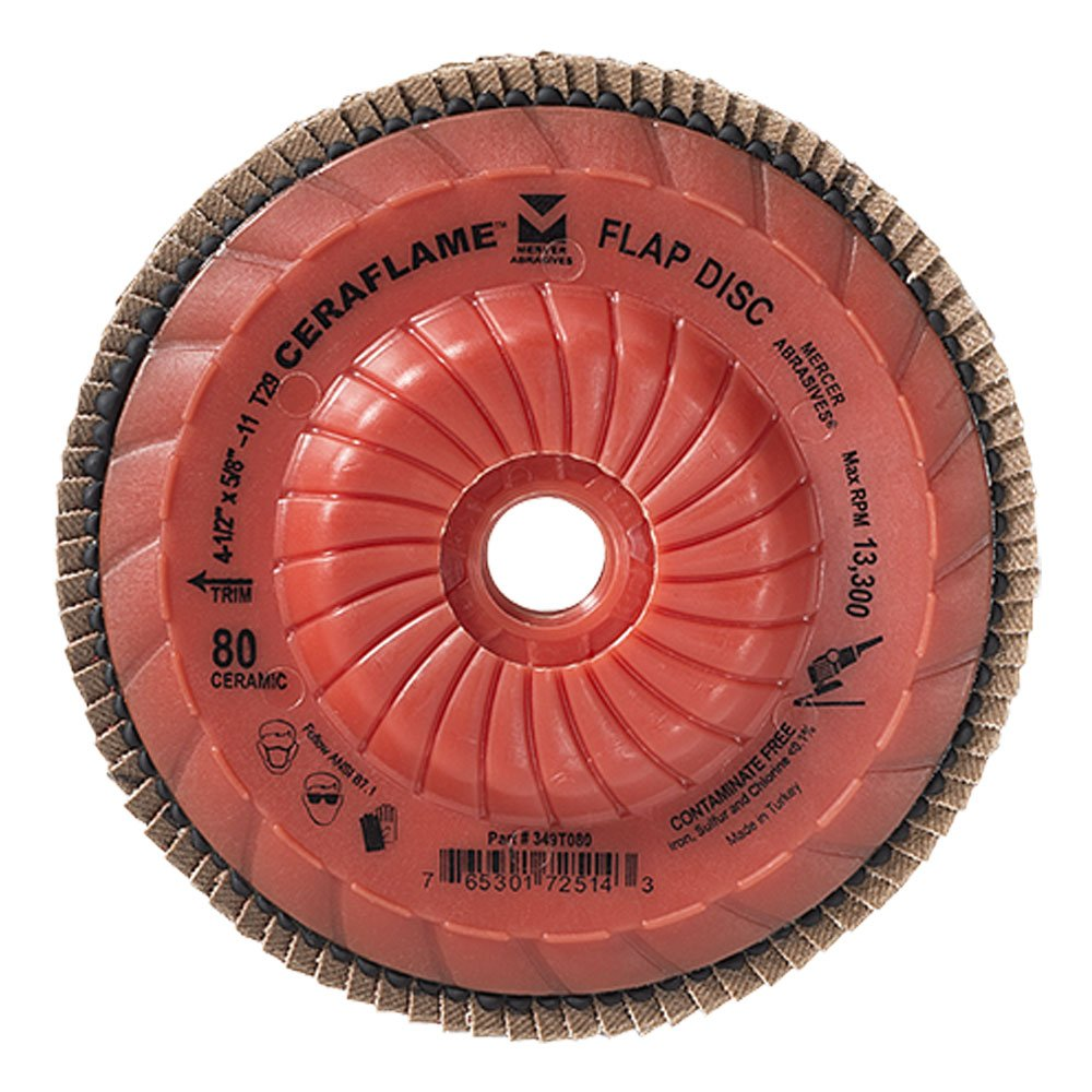 Mercer Industries 349T080 Ceraflame Ceramic Trimmable Flap Discs, Type 29, 4-1/2'' x 5/8''-11, Grit 80, (10 Pack)