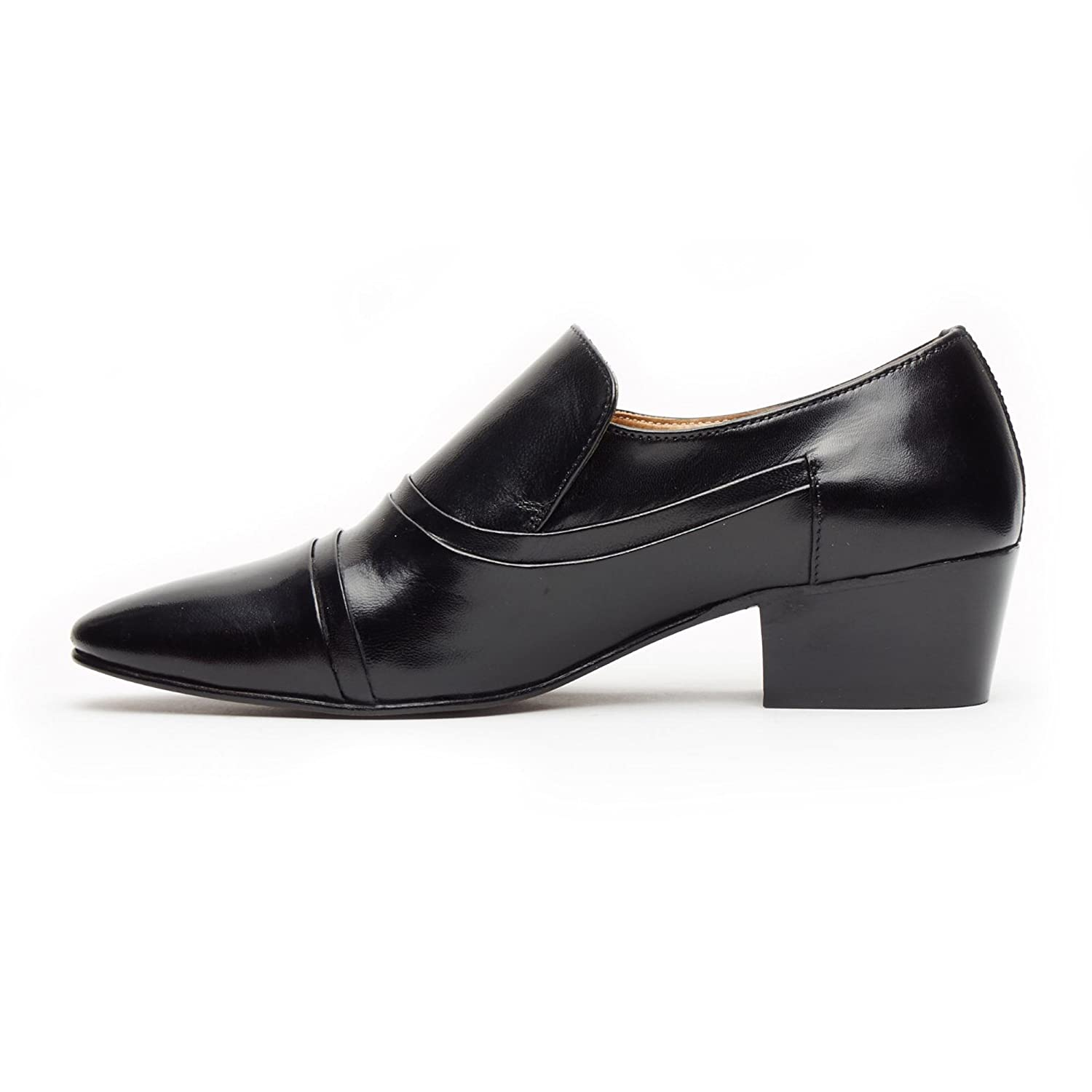 Mens Gents Smart Cuban Heel Evening Wedding Party Office Work Formal Leather Slip On Shoes Size