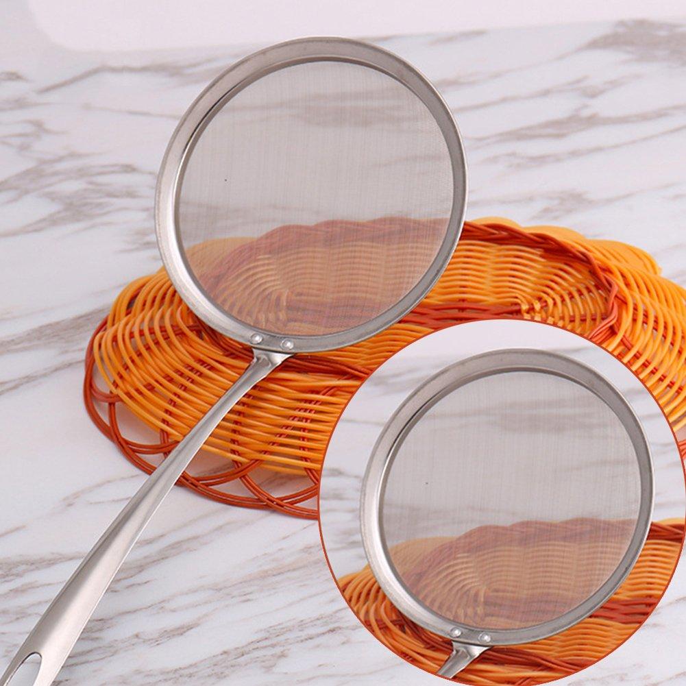 colino a maglia fine adatto anche per filtrare l/'olio s Silver Mestolo setaccio da cucina in acciaio inossidabile