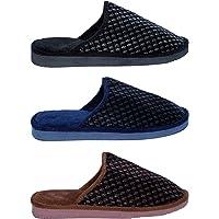 Smart Bazaar Latest Design Men/Women's Soft Comfortable Velvet Cotton Non-Slip Soles Strip Winter Outdoor/Indoor Slippers/Soft Bottom Slippers.(Combo Pack of 3)