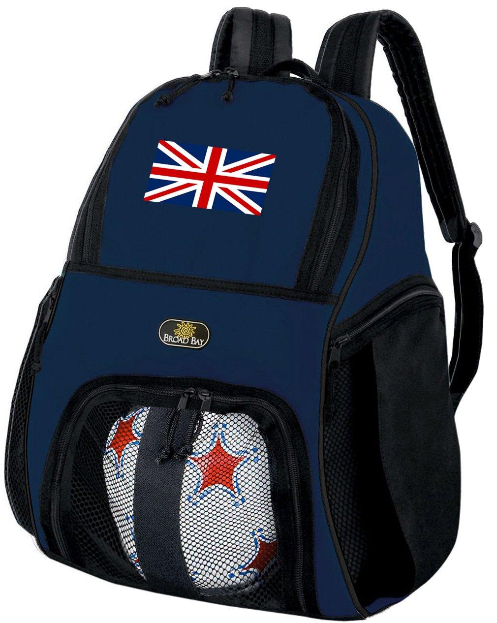 Broad Bay Englandイギリス国旗サッカーバックパックバレーボールバッグネイビー B07CWZ4XS9