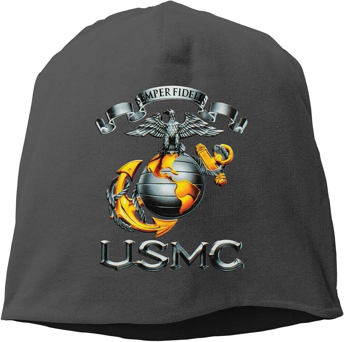Herren Damen USMC Semper Fidelis Decal Logo M/ütze Strickm/ützen Skull Cap f/ür M/änner Frauen Winter Sackm/ütze