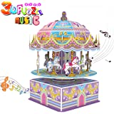 3D Carousel Puzzle for Kids,Whirligig Jigsaw Music Box DIY Building Model Early Learning Educational Toys Brain Teasers Girls Toys Teens Birthday Gift-29 Pieces