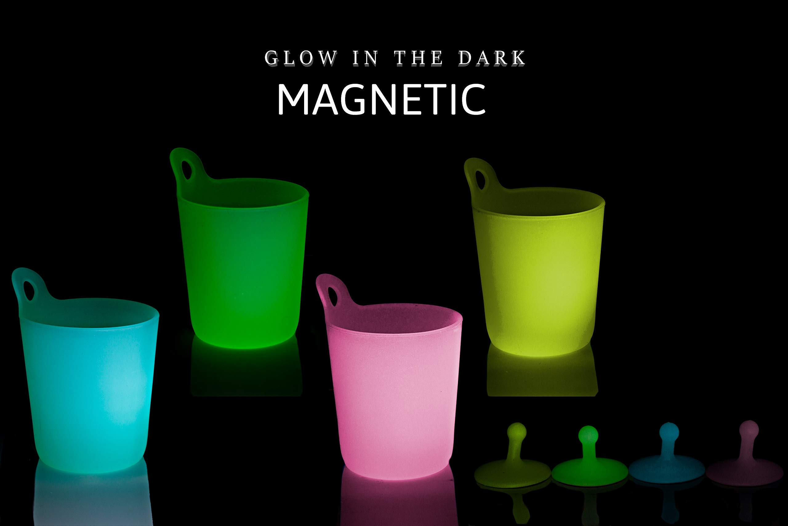 B.N.D TOP Hanging Cups for Kids on Fridge Hangable Kid's Cup Dishwasher Safe Magnetic Fridge Cups for Kids Magnets Drinking Cups hangable Cups for Kids & Adult Glow in The Dark Silicone Magnet Hooks