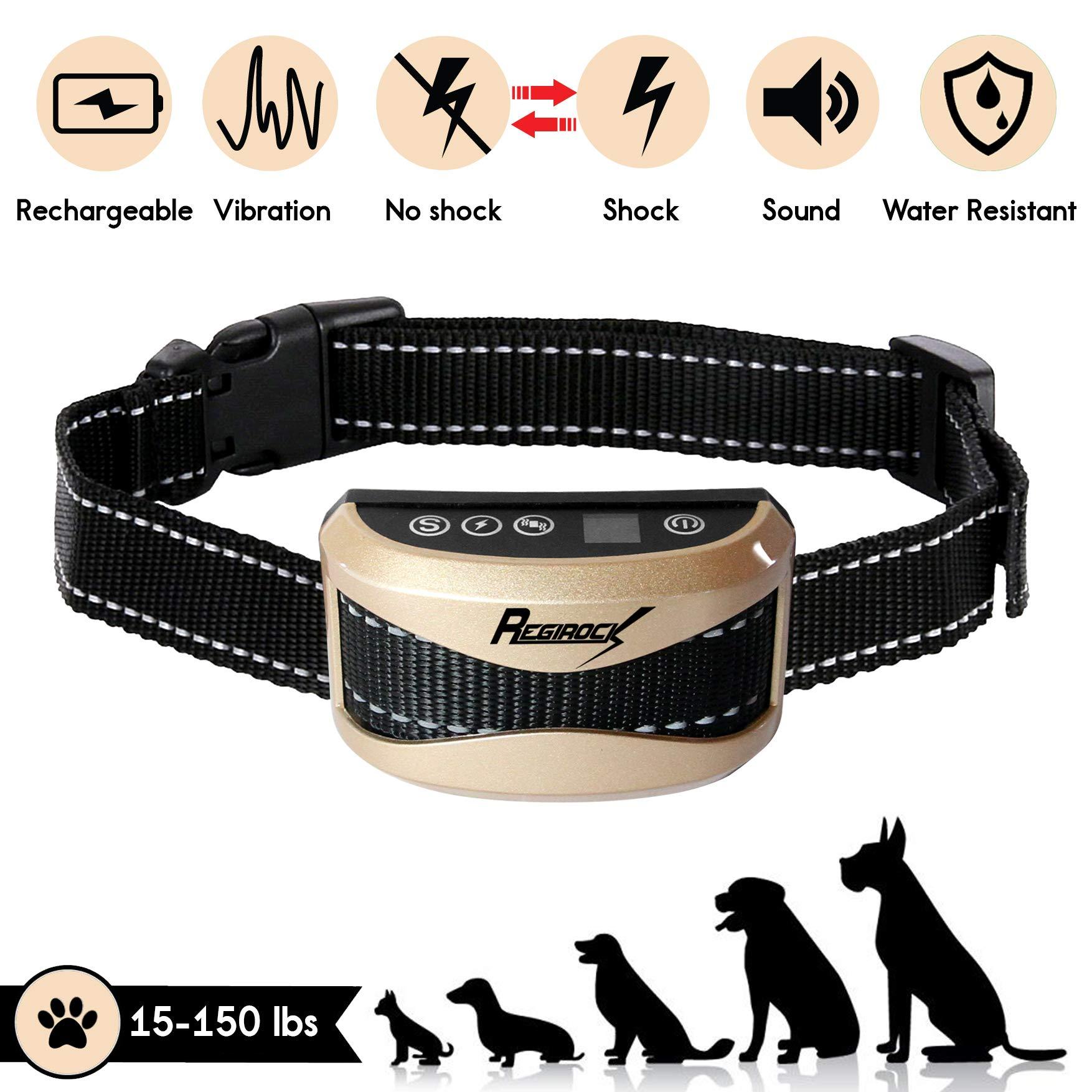 REGIROCK 2018 Upgrade Version Barking Control Collar - Rechargeable & Rainproof No Bark Collar Sound, Vibration Static Shock - 7 Levels Sensitivity Small Medium Large Dog