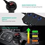[Updated Version]QUICK CHARGE 3.0 Cigarette Lighter Adapter, 120W 12V/24V 3-Socket Power Splitter DC Outlet with 8.5A 4 USB Ports Multifunction Car Charger, LED Display Voltage, Upgraded On Off Switch