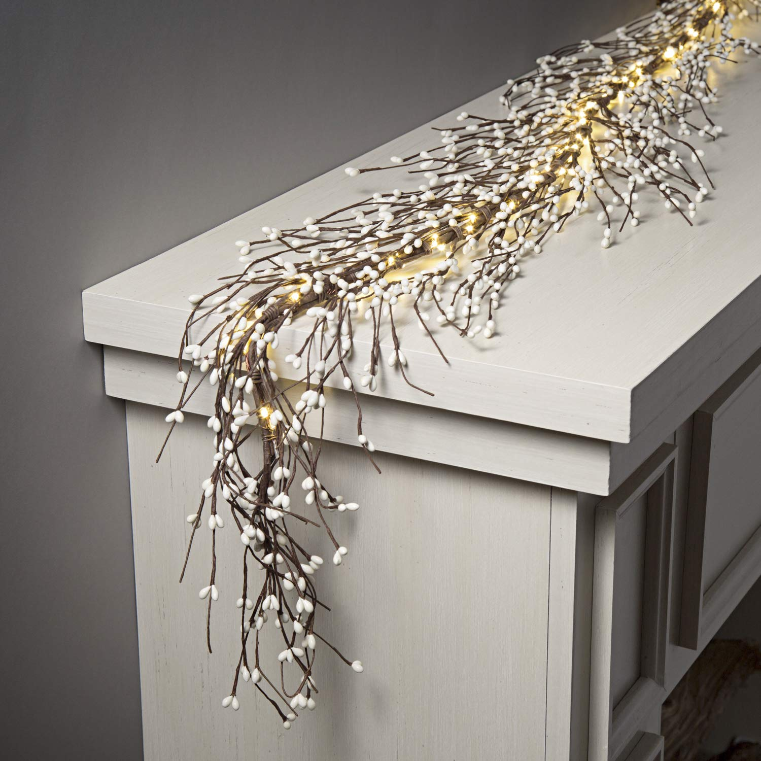 Pip Berry Garland with 100 LED Lights - 5 Feet Long, Brown Twig Branches with White Berries, Primitive Style, for Spring and Easter Decor, Battery Powered, Timer Included