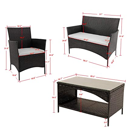 Amazon.com : XINYER 4 PC Patio Furniture Sets Outdoor Garden ...