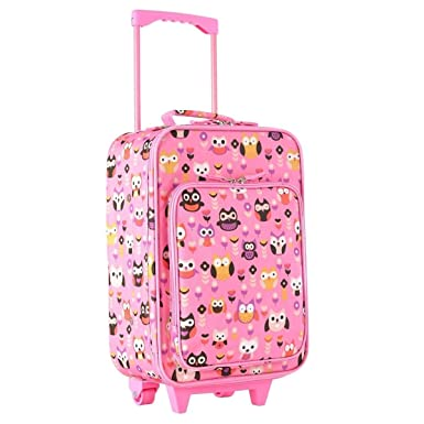 Kids Pink Floral Owl Themed Wheeled Duffle Bag Upright Rolling Duffle 7e467327b263a