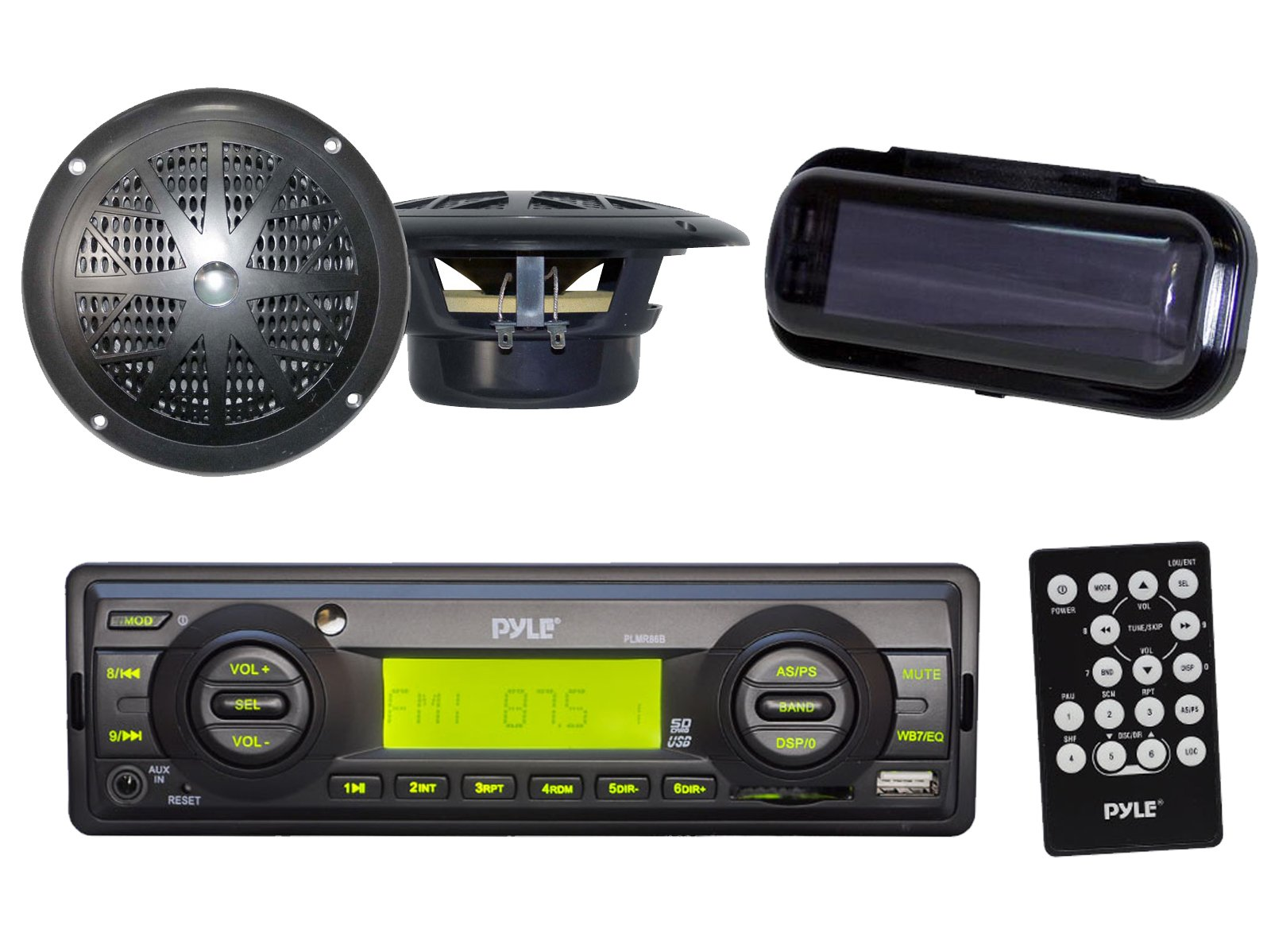 Indash Marine Radio 200W SD Card USB Input 4'' Black Round Speakers Stereo Cover by Enrock