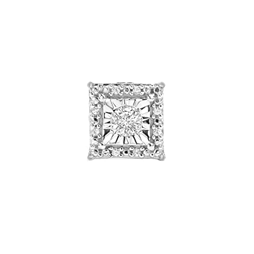 Sterling Silver Best Selling Halo Diamond Earrings 1 4ctw Pair or 1 8ctw Single Princess, Round or Heart