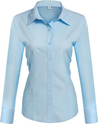 Unibelle - Blusa de algodón para mujer, camisa de manga larga, monocromática, elegante