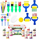 Early Learning Kids Paint Set Washable Finger Paint with Assorted Painting Brushes Sponges Portable Case for Kids Toddlers Dr