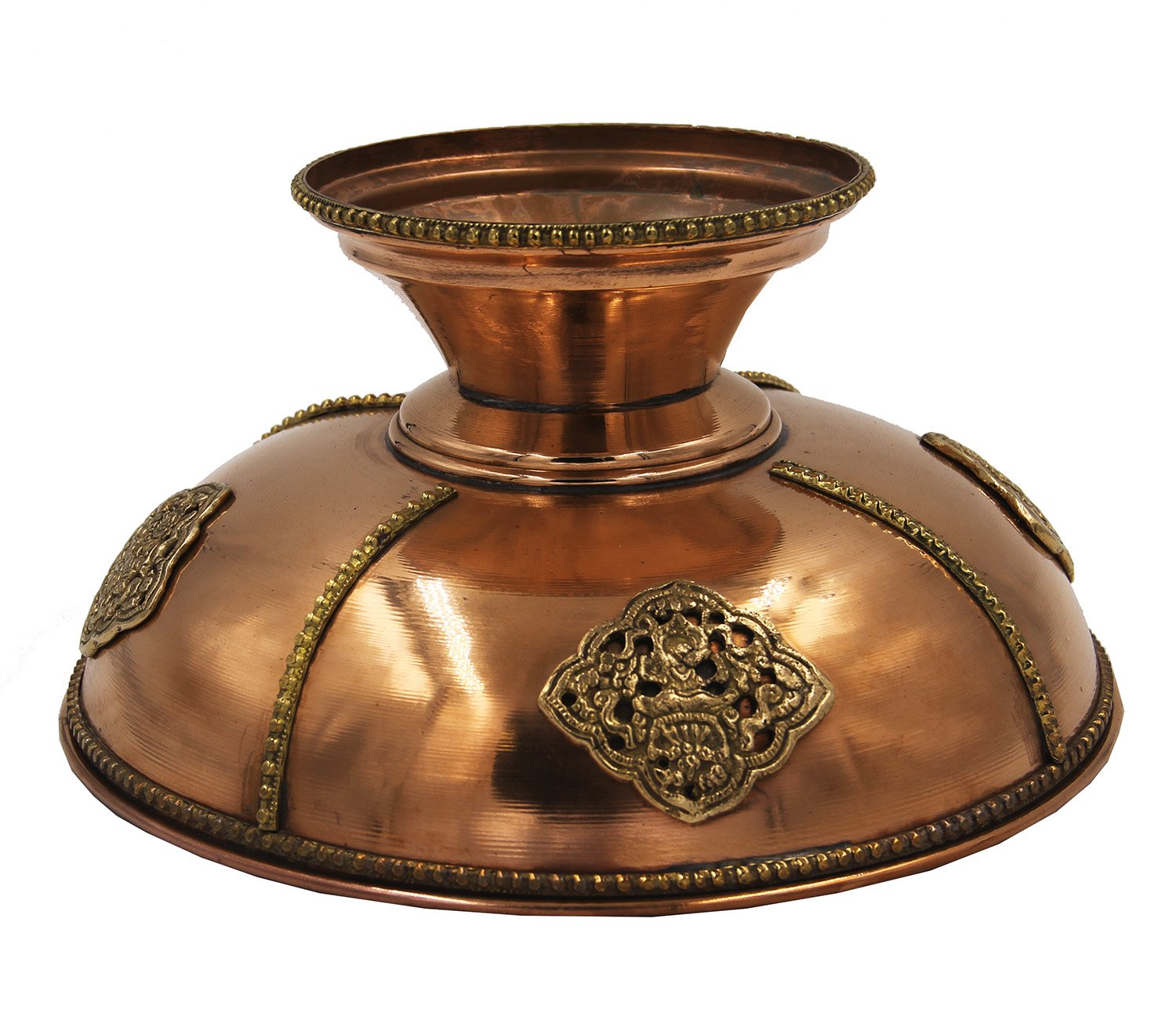 Copper, 12 Diameter X 5 Tall DharmaObjects Tibetan Hand Crafted Decorative Copper Fruit Bowl
