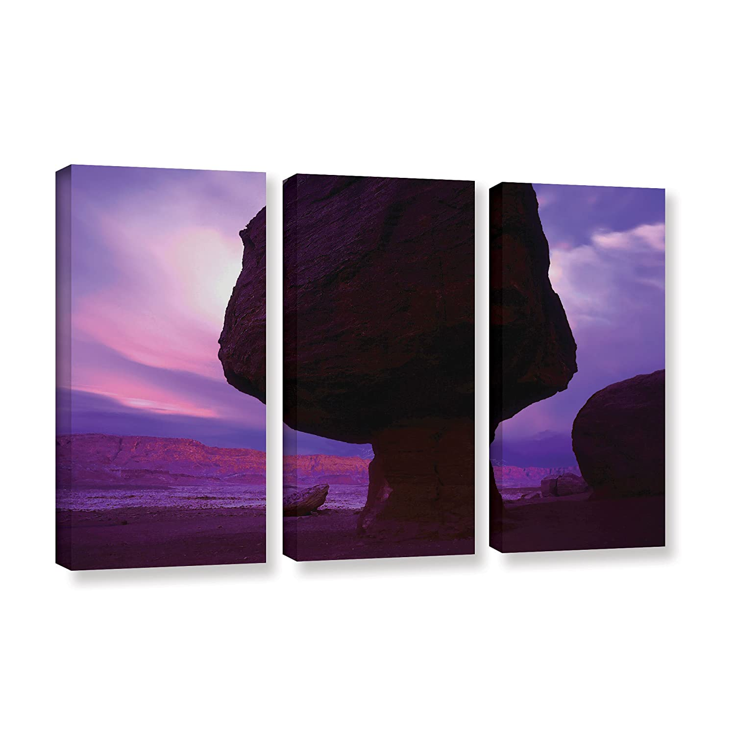 ArtWall Dean Uhlinger 3 Piece Echo Cliffs Storm Light Gallery-Wrapped Canvas Set 36 by 54
