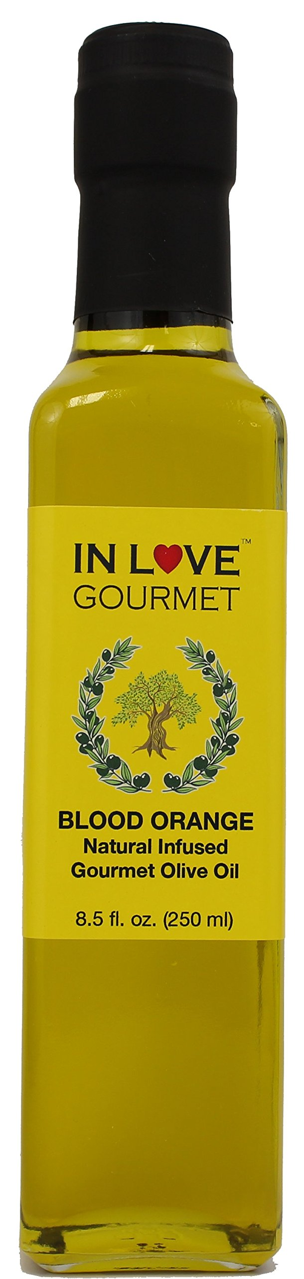 In Love Gourmet Blood Orange Natural Flavor Infused Olive Oil 250ML/8.5oz Great as Stand Alone Green Salad Dressing