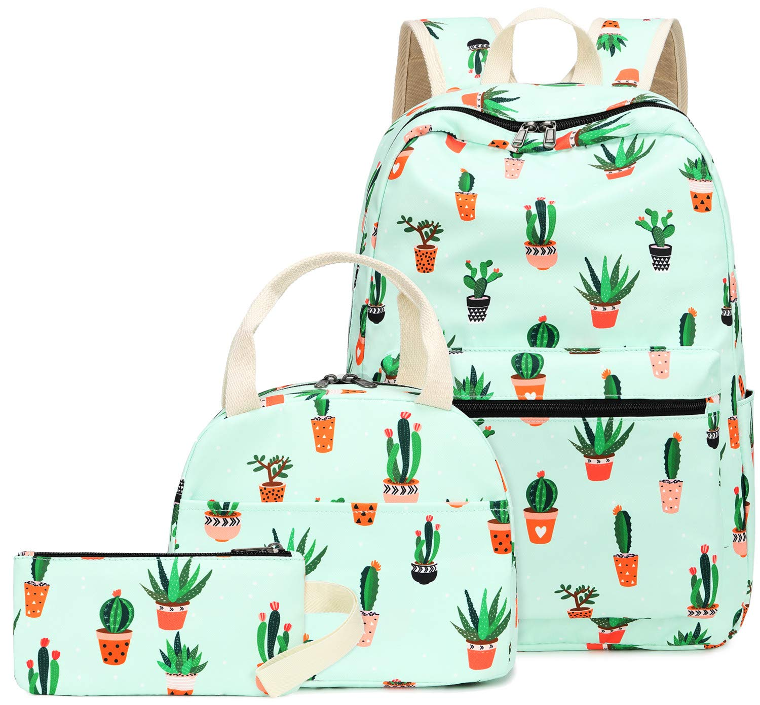 Teen Girls Backpack School Book Bag Set with Lunch Box and Pencil Case for Kids and Children (Cactus Green-0042) by BLUBOON