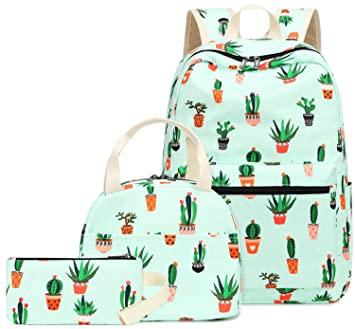 b3ca2b15323c Teen Girls Backpack School Book Bag Set with Lunch Box and Pencil Case for  Kids and Children (Cactus Green-0042)