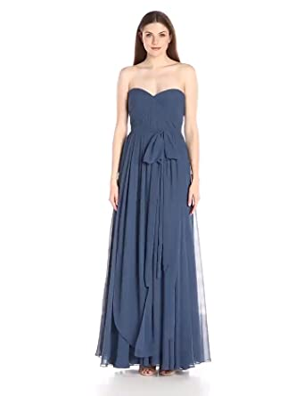 b48172001933 Jenny Yoo Women's Mira Convertible Strapless Pleat Chiffon Gown, Evening  Blue, ...