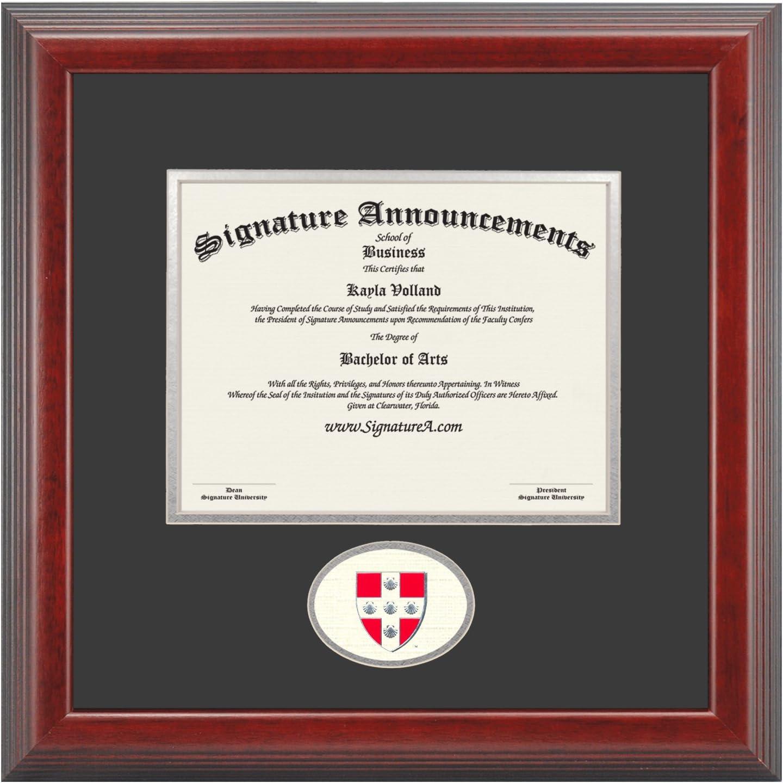 Signature Announcements Wesleyan-University Undergraduate Sculpted Foil Seal Graduation Diploma Frame 16 x 16 Cherry