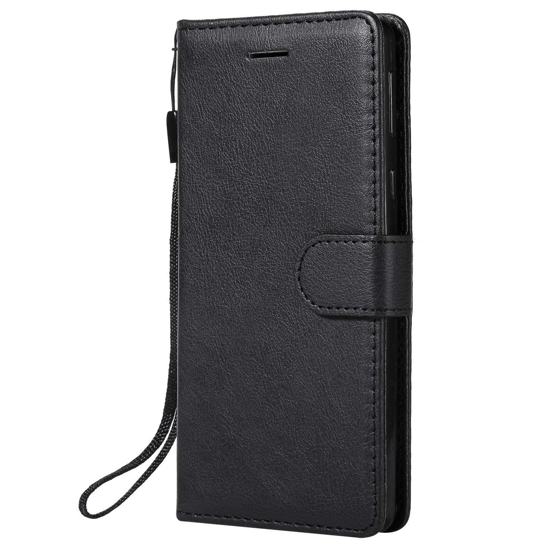 DENDICO Funda Sony Xperia E5, Flip Libro Cuero Carcasa, Diseño Clásico Funda Plegable Cover para Sony Xperia E5 - Negro