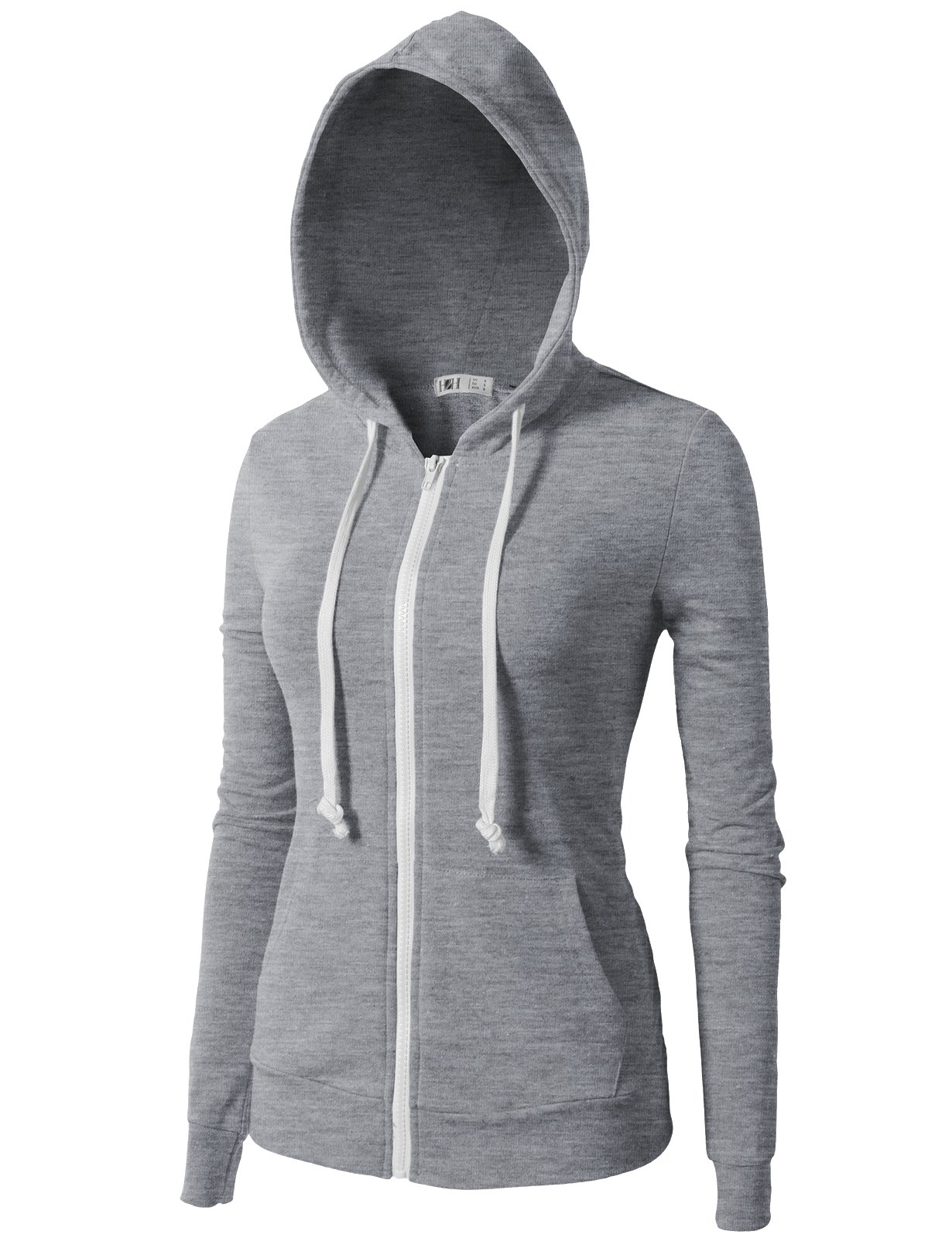 H2H Womens Soft Regular Fit Zip up Long Sleeve Fine Cotton Hoodie Jacket Gray US XS/Asia XS (CWOHOL020) by H2H (Image #3)