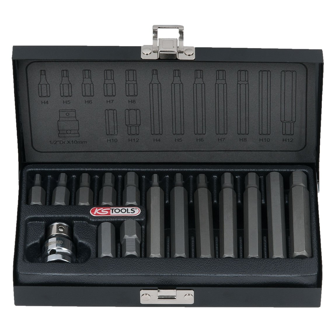 KS TOOLS 911.5040 Coffret de 15 Embout de vissages 6 pans 1/2'', 10 mm 4042146053881