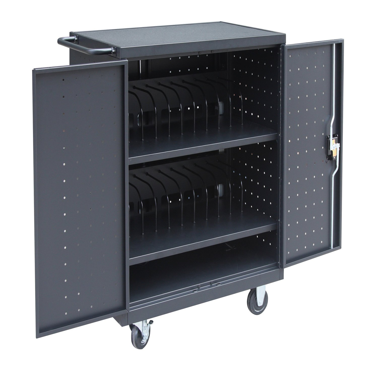 Pearington 24 bay storage and charging cart for laptops and tablets, Black