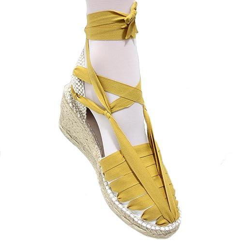 Alpargatas Cuña Alta Pintxo o Siete Vetas Mostaza - Mostaza, 41: Amazon.es: Zapatos y complementos