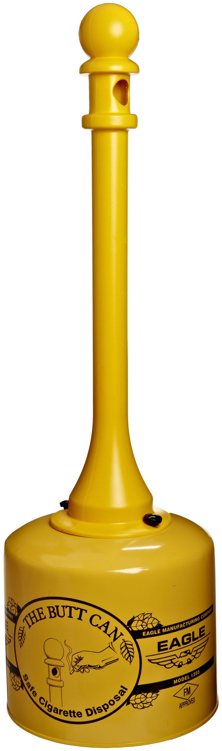 Eagle 1205 Galvanized Steel Poly Tube Cigarette Butt Receptacle, 5 gallon Capacity, 40'' Height, 12'' Diameter, Yellow