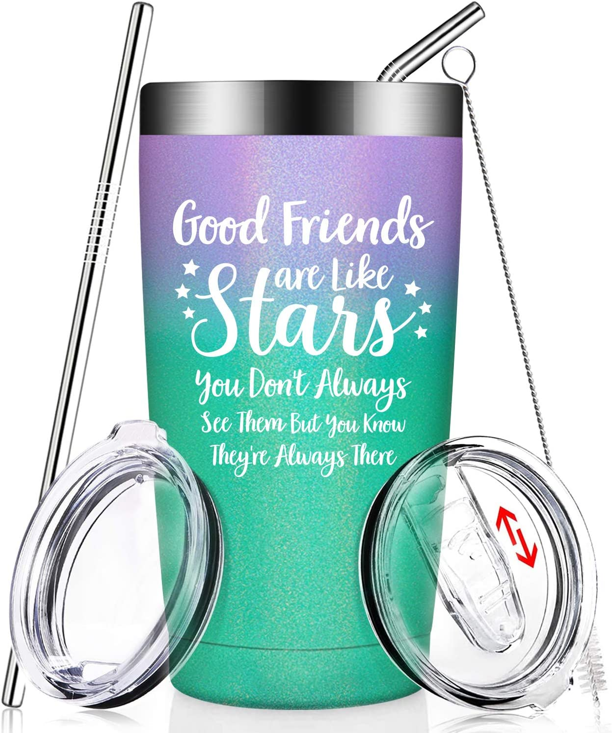 Amazon Com Good Friends Are Like Stars Funny Best Friend Birthday Gifts Christmas Friendship Present Idea For Women Men Sister Coworker Roommate Bff Female Lady Her Insulated Wine Tumbler