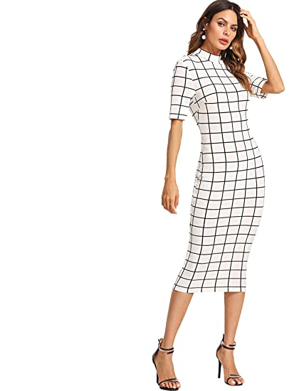 Floerns Women's Short Sleeve Gingham Bodycon Business Pencil Dress by Floerns