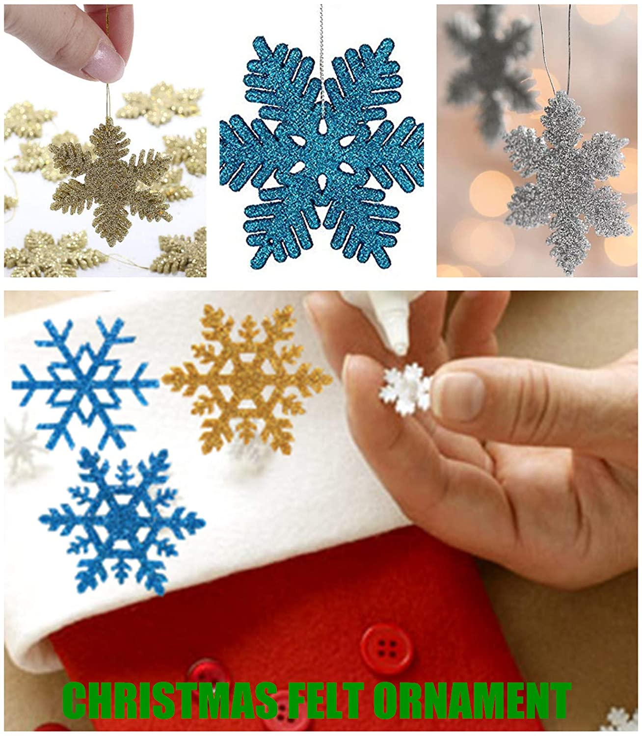90 Pack Assorted 3 Shapes Glitter Snowflake Felt Applique Blue Silver Gold Felt Sheets for Patchwork Scrapbooking Crafts Hair Clips Accessories Christmas Decorations