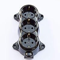 Stopcontact-FEST RETRO CE teken -3-voudig 16A-250V opbouw-montage messing dik zwart retro bakeliet look oud bevestigd…