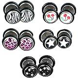 5 Par de Piercing de oreja Pendiente orete Pincho Multicolor