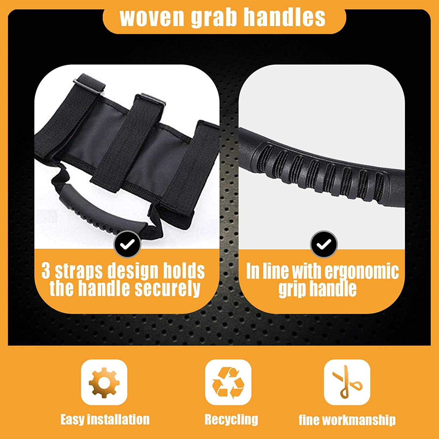 Waterluu Jeep Wrangler Roll Bar Grab Handles Wrangler Accessories 2 Pack-Camouflage Easy-to-Fit 3 Straps Design for 1987-2018 Models Comouflage Grab Handles Set for Jeep Wrangler Roll Bars