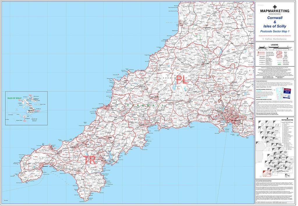 Postleitzahl Sector Karte 1 Cornwall Und Scilly Isles Aluminium