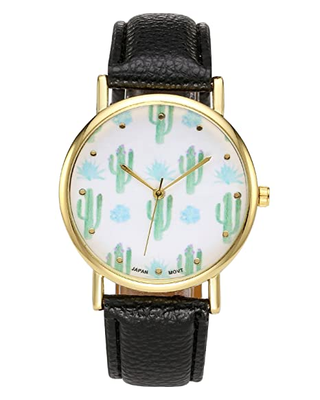jsdde Relojes, Cute Cactus kaktee gewächse Diseño Reloj de Pulsera Mujer Bonito diseño de Moda