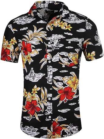 NUTEXROL Camisa de Hombre Camisas Hawaianas Camisas Estampadas de Hombre Camisa de Verano con Diseño de Playas, Camiseta Casual de Manga Corta, Amarillo: Amazon.es: Ropa y accesorios
