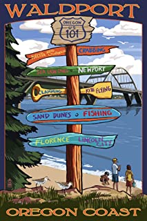 product image for Waldport, Oregon - Sign Destinations (16x24 Fine Art Giclee Gallery Print, Home Wall Decor Artwork Poster)