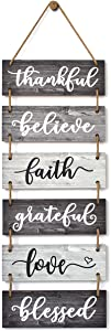 Buecasa Family Wall Decor Sign - Farmhouse Rustic Home Decoration for Living Room Bedroom - Inspirational Large Wall Hanging Plaque 6pcs 38x12 Inches