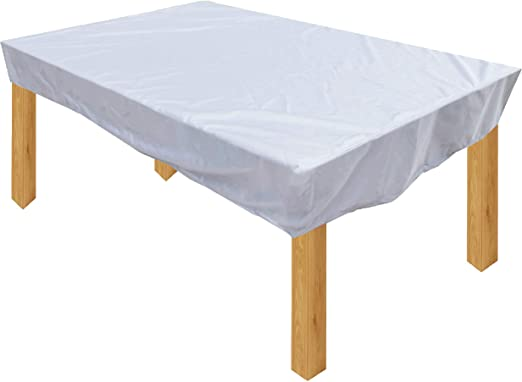 KaufPirat Premium Funda para Muebles de Jardín 265x120x15 cm Cubierta Impermeable Funda para Mesa para Mobiliario de Exterior Blanco: Amazon.es: Jardín