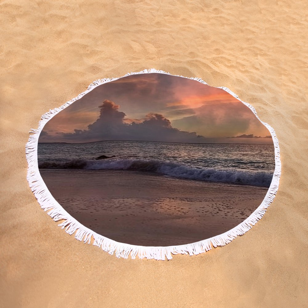 Pixels Round Beach Towel With Tassels featuring ''Sunset Movie '' by Betsy Knapp