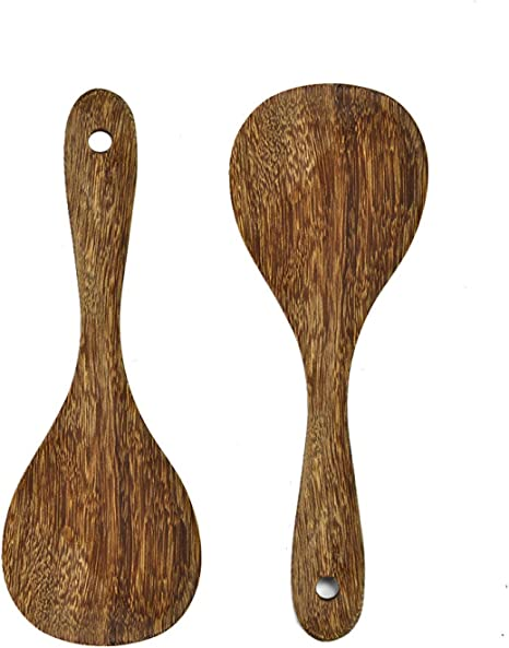 Gonioa 2 Pack Premium Wood Rice Paddle, Rice Serving Spoon