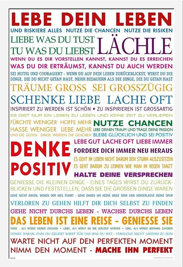 Motivational - Lebe Dein Leben Bunt Motivations Poster Plakat Druck ...