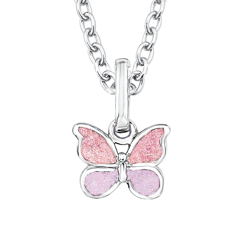 Prinzessin Lillifee Kinder-Kette mit Anhänger Schmetterling 925 Silber rhodiniert Emaille - 523011 PLFS/47 - 523011