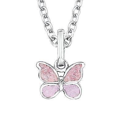 8b4867522063 Prinzessin Lillifee Kinder-Kette Mädchen mit Anhänger Schmetterling 925  Silber Emaille rosa  Amazon.de  Schmuck
